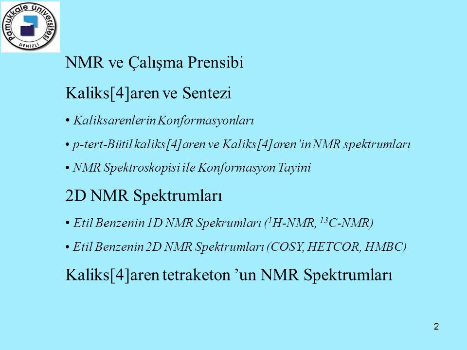NMR ve Çalışma Prensibi Kaliks[4]aren ve Sentezi